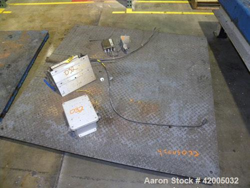 "Used- Fairbanks Floor Scale, Model 3400. 5000 Pound capacity, 60"" x 60"" carbon steel diamond plate base. Includes a Fairbank..."