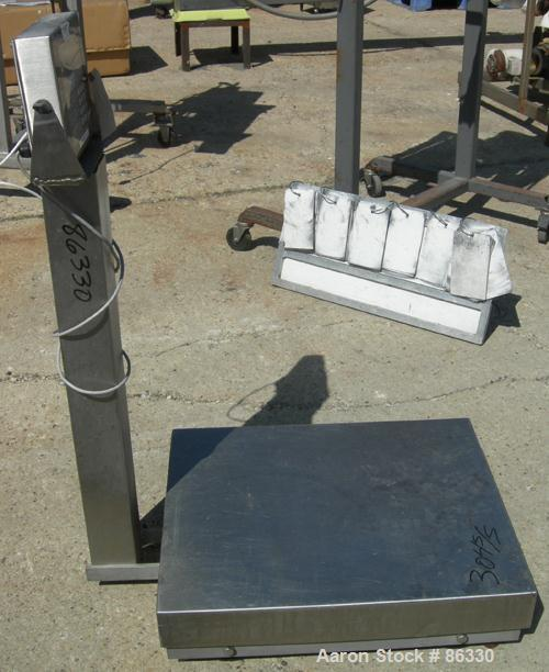 "USED: Fairbanks platform scale, 1000 pound capacity, model H90-165. 23"" x 27"" 304 stainless steel platform. Includes a GSE m..."