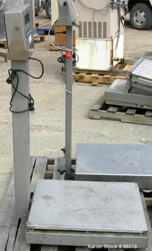 "USED: General Weighing Systems platform scale, 1000 pound capacity, model 810SSX. 18"" x 24"" 304 stainless steel platform. In..."