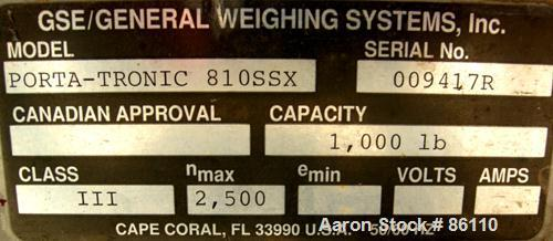 """USED: GSE platform scale, 1000 pound capacity, model 810SSX. 18"""" x 24"""" 304 stainless steel platform."""