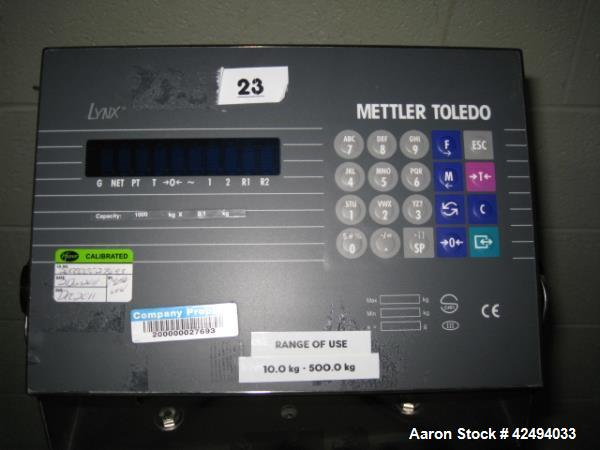 "Used- Mettler-Toledo Floor Scale, Model LYNX, 1000 kg x 0.01 capacity, 36"" x 36"" platform, with ramps and wheels, 120V, XP, ..."