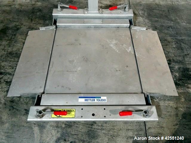"Used- Mettler Toledo Floor Scale, Model LYNX, Stainless Steel. 30"" x 30"" platform with fold down rams, digital readout, 110/..."