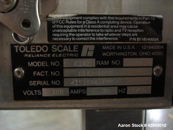 "Used- Mettler-Toledo Scale, Type M-8142. 24"" x 30"", serial# 4151544-4ym. NOTE PRICE INCLUDES A 15% BUYERS PREMIUM."