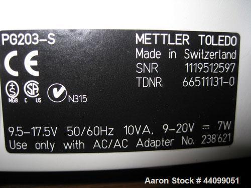 Used-Mettler Toledo balance, Model PG203-S. 210 Gram capacity (0.46 pounds). Serial# 1119512597.