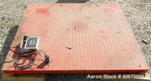 """Used- B-Tek Inc Floor Scale, Model BS-6060-5. 60"""" x 60"""" carbon steel plate, 5,000 pound capacity. Includes a Transcell Techo..."""
