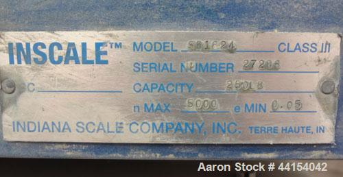 Used- Indiana Platform Scale, Model SB-18X24, serial# 27286. Approximate 250 pound capacity, with a FWC model DWM-IV readout...