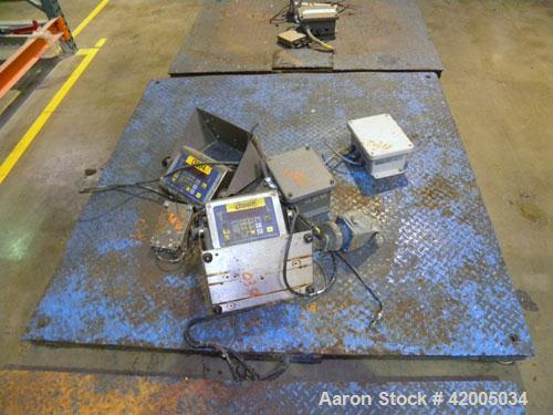 "Used- Floor Scale, approximate 5000 pound capacity, 60"" x 60"" carbon steel diamond plate base. Includes a Fairbanks digital ..."