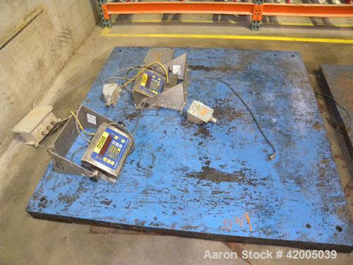 """Used- Floor Scale, approximate 5000 pound capacity, 60"""" x 60"""" carbon steel diamond plate base. Includes a Fairbanks digital ..."""