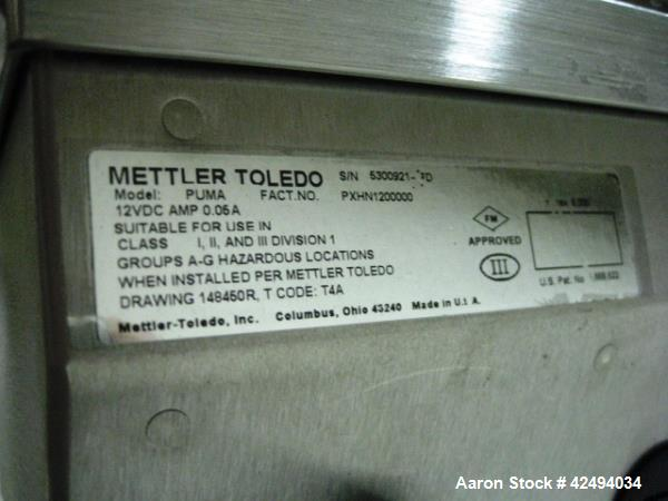 """Used- Mettler-Toledo Floor Scale, Model PUMA, 1000 kg x 0.01 capacity, 36"""" x 36"""" platform, with ramps and wheels, 120V, XP, ..."""