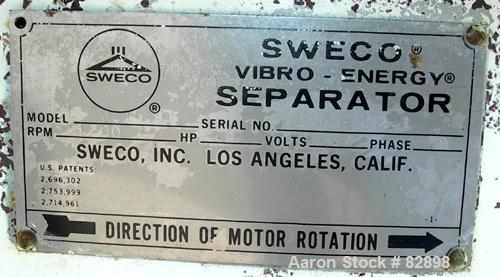 USED: Sweco lower base weldment only, model LS60S-0815. Includes a 5 hp, 3/60/230/460 volt, 1120 rpm motor.