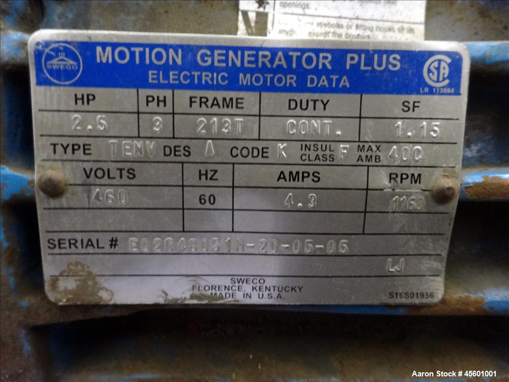 Used-Sweco Motor, 2.5 HP, 460 V