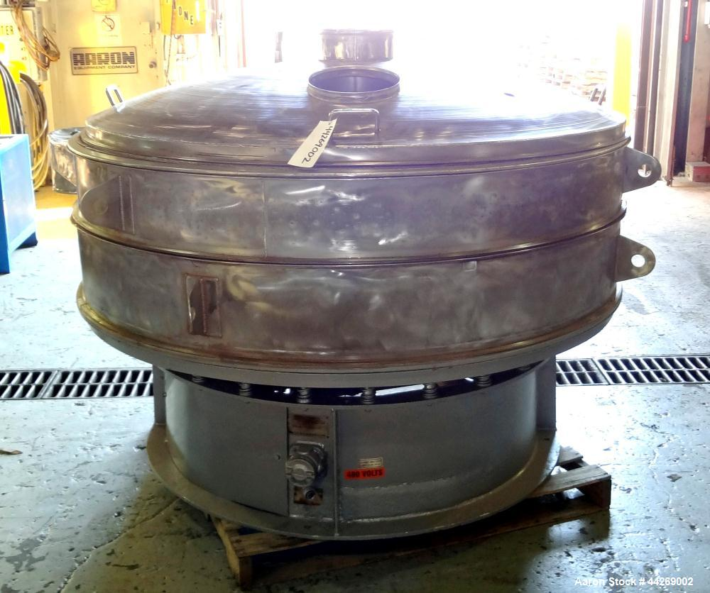 "Used- Sweco Screener, Model US72108, 316 Stainless Steel. Consisting of: (1) 72"" Diameter deck, (1) top cover. Driven by a 5..."