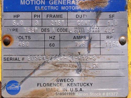USED: Sweco motor. 5 hp, 3/60/460 volt, 1160 rpm, XP, serial #E05C49212F01F12S.