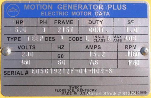 Unused-UNUSED: Sweco screener motor 5 hp 3/60/230/460 volt, 1160 rpm, XP.