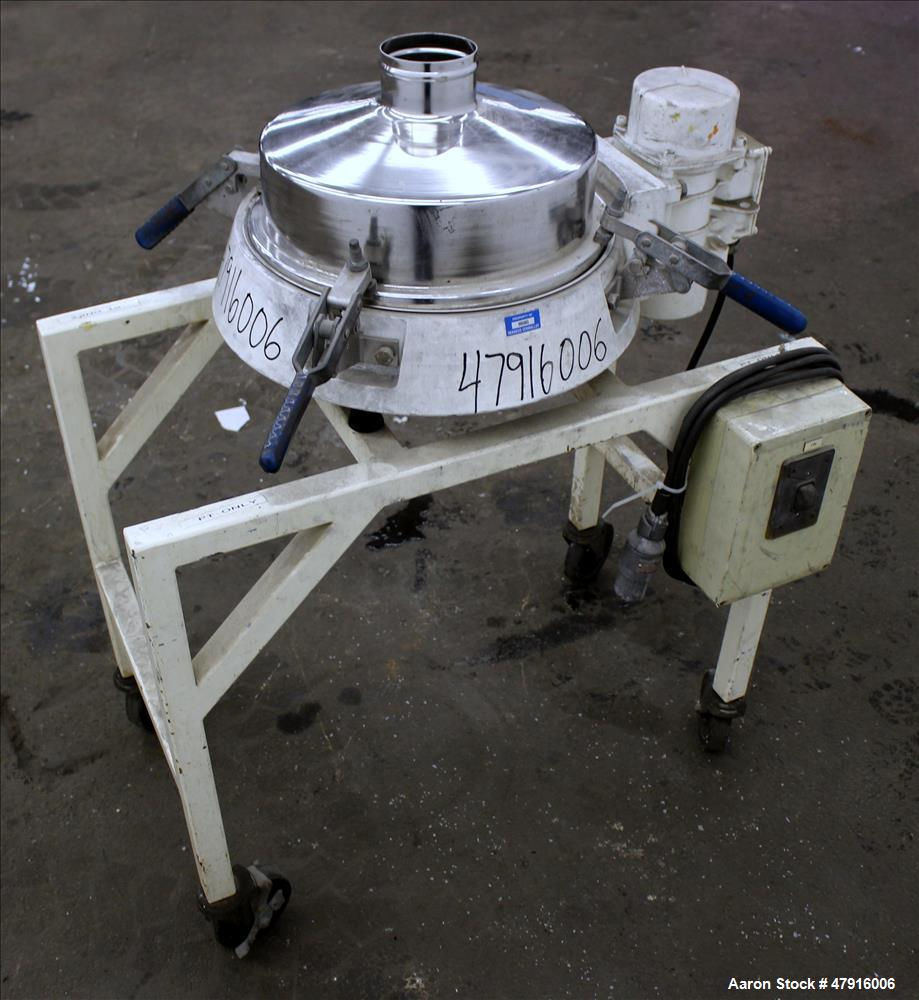 """Used- Russell Finex Compact Sieve, Model 27400, Stainless Steel. Approximate 14"""" diameter single deck. Clamp down top cover ..."""