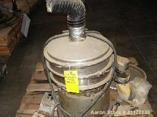"Used-Sweco 18"" diameter stainless steel circular sifter. Single deck dual separation with cover."