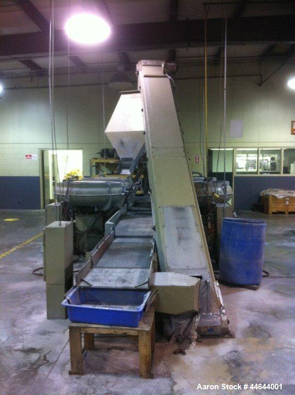 """Used-Almco 4 Bowl Vibratory System, Model OR-10V.  (4) Bowls are 10 cubic feet each, 15' x 30"""" conveyor, 8' screen separator..."""