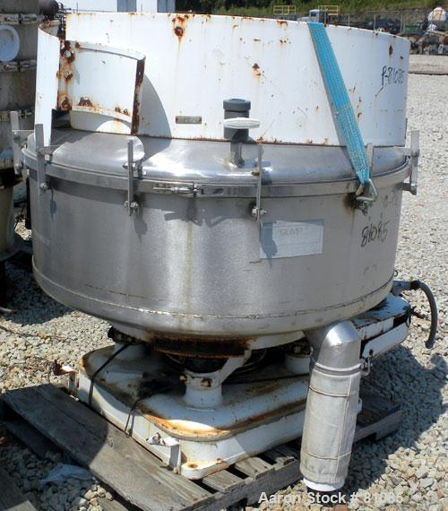 "USED: BF Gump pneumatic incline screener, model CP43. 48"" diameter, 304 stainless steel, operating at 15 psig, 6"" inlet, 5"" ..."