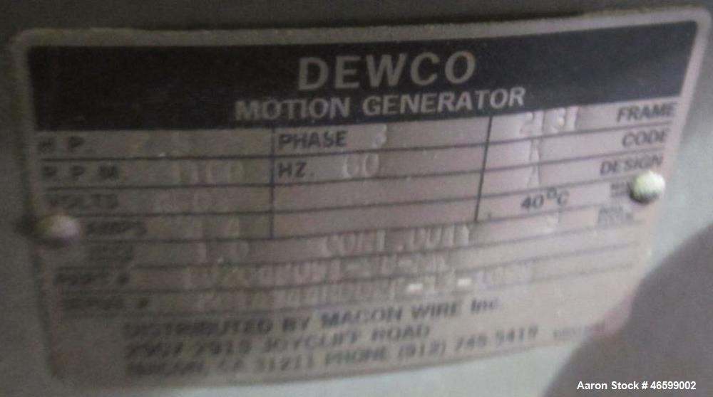 "Used- Dewco Screener, 60"" Diameter, Stainless Steel. Single deck, driven by a 2.5hp motor. Serial# 6015888-25."
