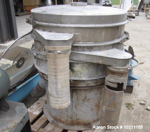 "Used-Eriez Screener, Model PS-362, Stainless Steel.  36"" Diameter three deck, four separation, with top cover.  Driven by a ..."