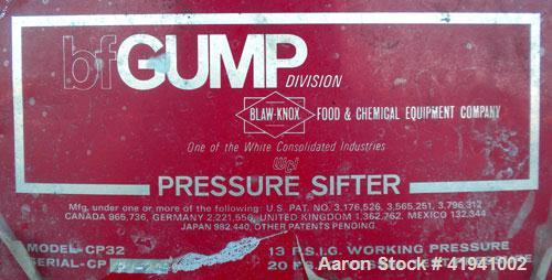Used- Stainless SteelGump Pneumatic In-Line Screener, model CP-32