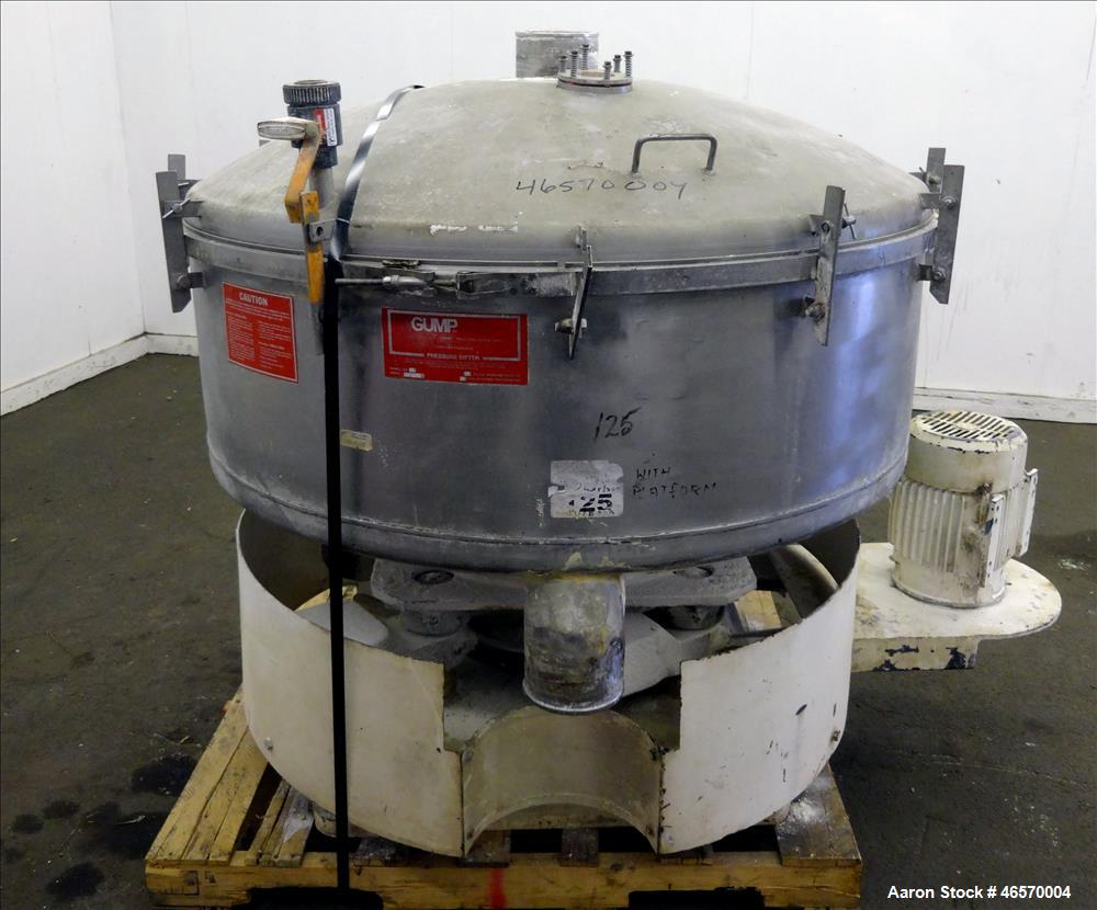 "Used- Gump Pneumatic Inline Screener, Model CP-43, 304 Stainless Steel. 43"" Diameter, approximate 33 square foot total scree..."