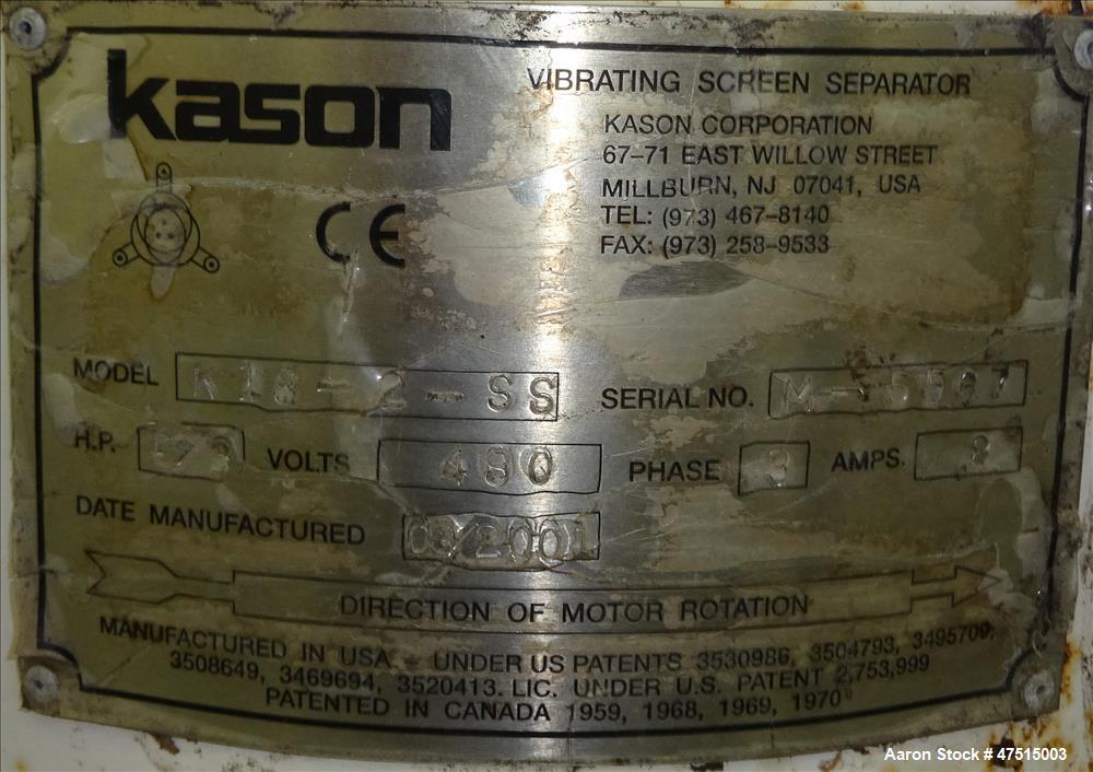 Used- Kason Screener, Model K-18-2-SS, 304 Stainless Steel.