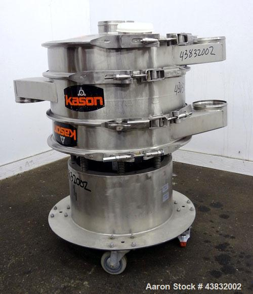 "Used- Kason Screener, Model K24-2-SS, 304 Stainless Steel. 24"" Diameter, double deck, 3 separation. Stainless steel top cove..."
