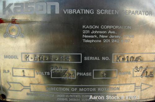 "Used- Kason Screener, Model K-60-1-SS, Stainless Steel. 60"" Diameter, single deck, 2 separation. No top cover or motor. Moun..."