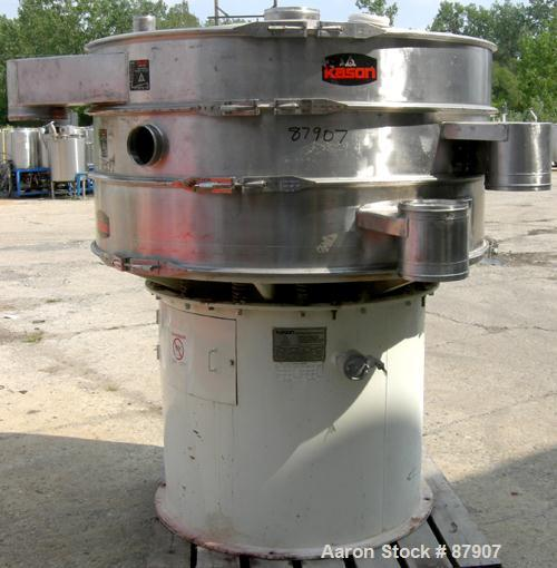 """USED: Kason screener, model K-60-2-SS, 321 stainless steel. 60"""" diameter, double deck, 3 separation. Top cover. Driven by a ..."""