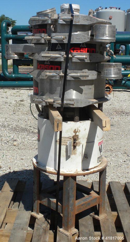 """Used- Kason Screener, Model K18-3-SS, 304 stainless steel. 18"""" diameter, triple deck, 4 separation. Stainless steel top cove..."""