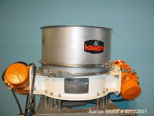 "Used- Kason Flow Thru Screen Separator, 24"" diameter, single deck, 304 stainless steel. 10"" deep separation section, 3"" deep..."