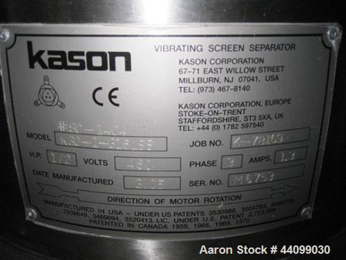 """Used- Kason 30"""" single deck screener, model K30-1-316LSS, # SC-1404, 316L stainless steel construction, (1) 4"""" sanitary with..."""