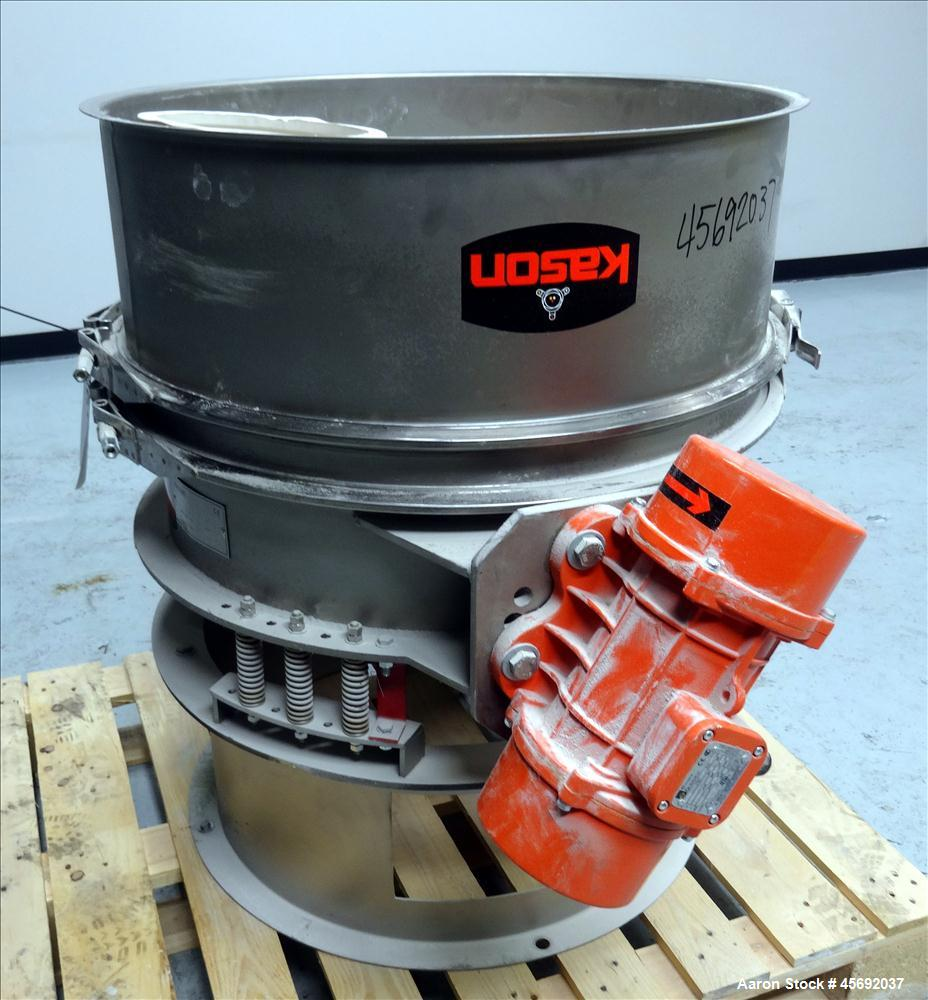 "Used- Kason Screener/Scalper Model # K30-1FT-SS, 304 Stainless Steel. 30"" diameter with a single deck, 1 separation, 10"" bot..."