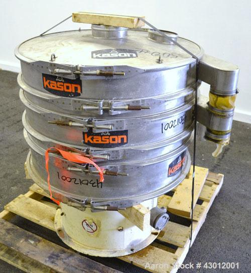 "Used- Kason Screener, Model K30-2-SS, 304 Stainless Steel. 30"" Diameter, double deck, 3 separation. Stainless steel top cove..."