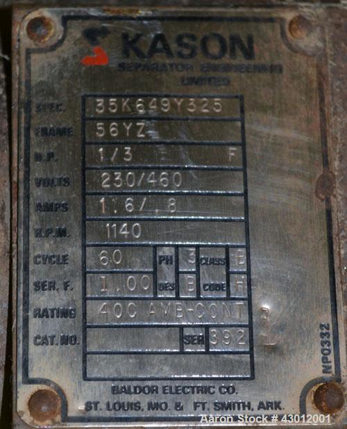 "Used- Kason Screener, Model K30-2-SS, 304 Stainless Steel. 30"" Diameter, double deck, 3 separation. Stainless steel top cove..."