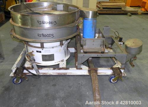 "Used- Kason Screener, Model K-40-1-SS, 304 Stainless Steel. 40"" Diameter, single deck, 2 separation, no top cover. Driven by..."
