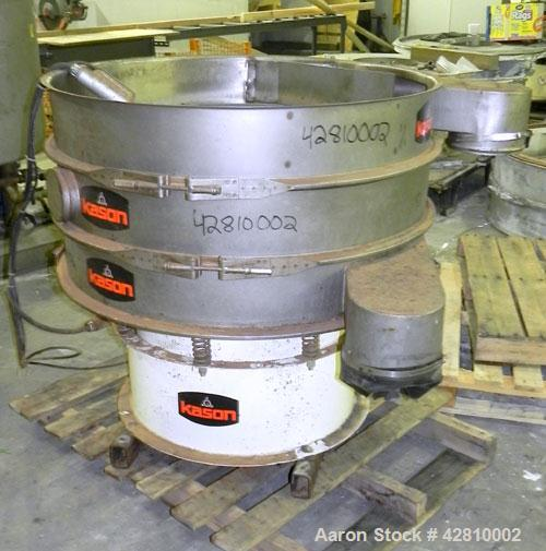 "Used- Kason Screener, Model K-40-2-SS, 304 Stainless Steel. 40"" Diameter, double deck, 3 separation, no top cover. Driven by..."