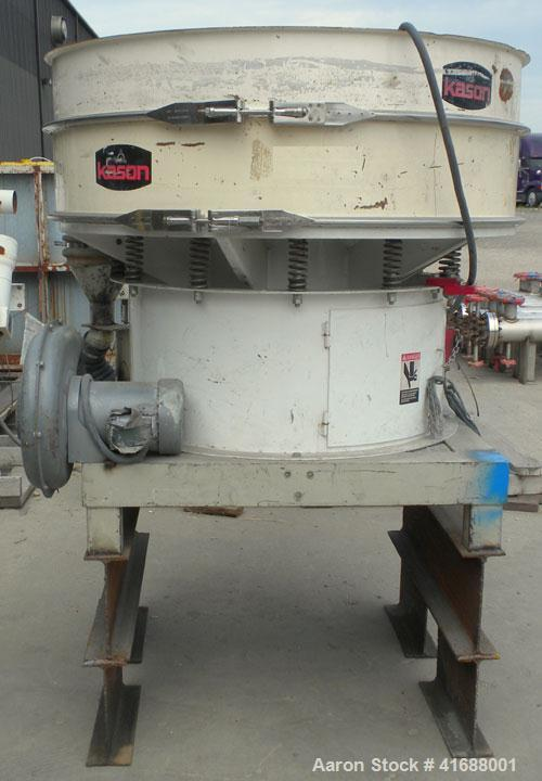 "Used- Kason Vibratory Separator, model K48-1-CS, carbon steel. 48"" diameter, single deck, 2 separation. No top cover. Driven..."