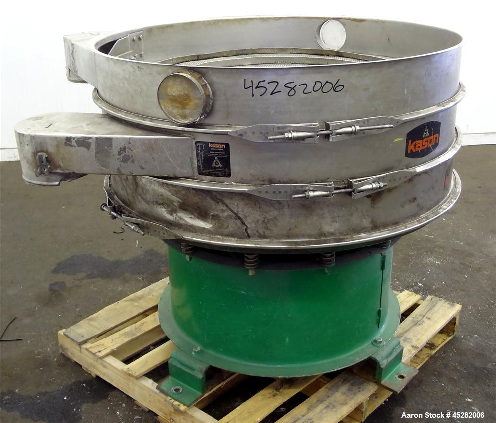 "Used- Kason Screener, Model K48-1-SS, 304 Stainless Steel. 48"" Diameter, double deck, 3 separation, no cover. Driven by 2.5h..."