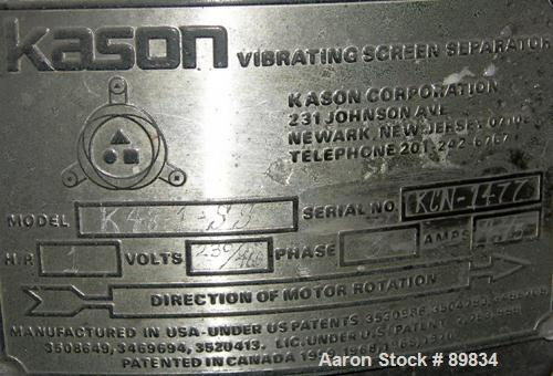 """USED: Kason screener, model K48-1-SS, stainless steel. 48"""" diameter, single deck, 2 separation with top cover. Driven by a 1..."""