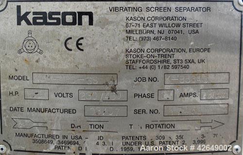 "Used- Kason Vibrating Screener, Model K48-1PS-SS, 304 Stainless Steel. 48"" Diameter, single deck, 2 separation. Stainless st..."