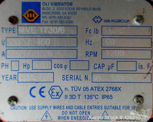 "Used- Kason Flo-Thru Vibrating Screener, Model K48-FT-SS, 304 Stainless Steel. 48"" Diameter, single deck, 2 separation. Stai..."