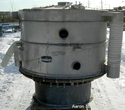 "USED: Kason high capacity recycle clarifier/screener, model K60-2-SS, 304 stainless steel. 60"" diameter, double deck, 3 sepa..."
