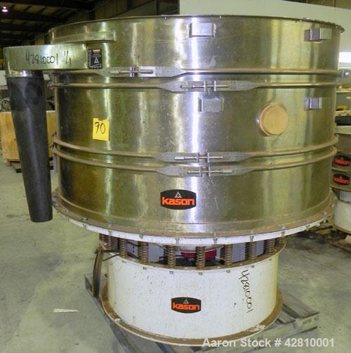 """Used- Kason Screener, Model K-72-2-SS, 304 Stainless Steel. 72"""" Diameter, double deck, 3 separation, no top cover. Driven by..."""