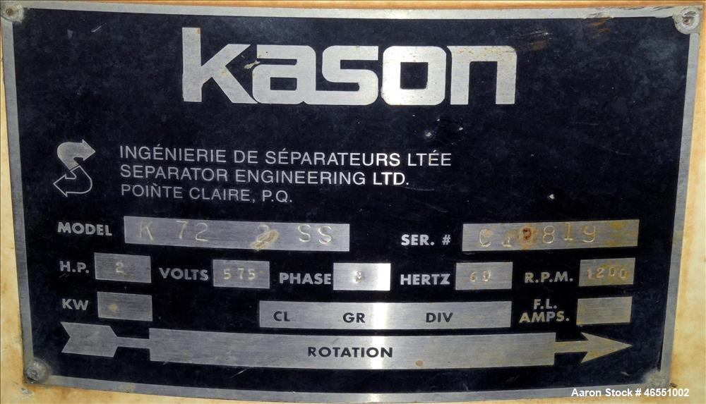 Used- Kason Screener, Model K72-2-SS