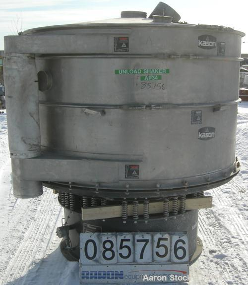 """USED: Kason high capacity recycle clarifier/screener, model K72-2AD-SS, 304 stainless steel. 72"""" diameter, double deck, 3 se..."""