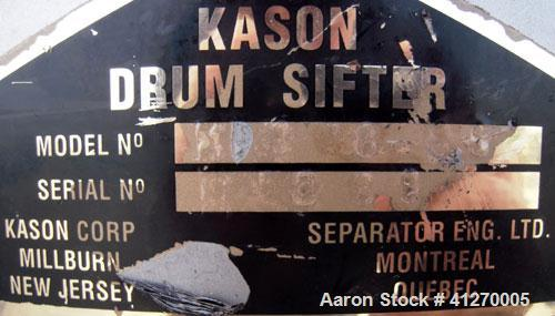 """Used- Kason Drum Sifter, Model KS-18-SS, 304 stainless steel. 16"""" diameter x 4"""" deep, single separation, no top cover. Drive..."""