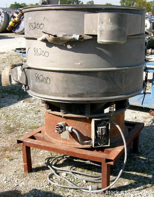 "Used- Master Machine Dyno Screener, 304 Stainless Steel. 48"" diameter, double deck, 3 separation, no top cover. Driven by a ..."