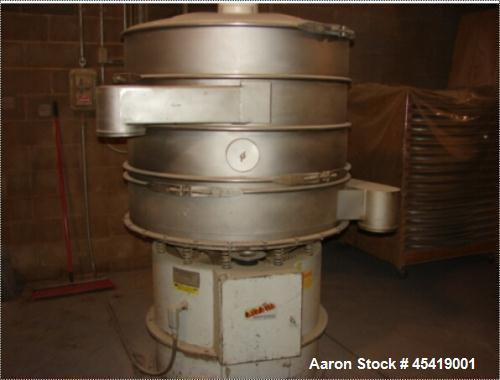 Used- 48'' Midwestern Triple Deck Stainless Steel Sifter with Cover. Has ball self-cleaning kit and numerous spare screens. ...